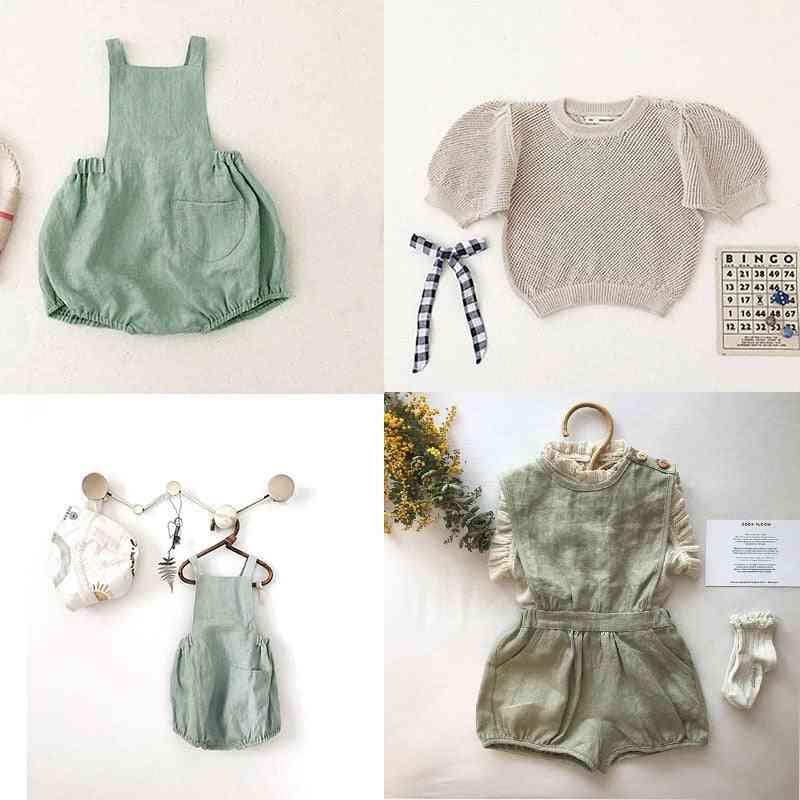 Girls Overalls, Light Green, Cotton Beautiful Bloomers