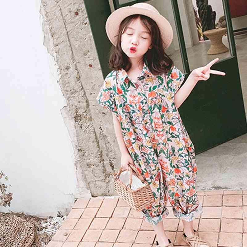 Girls Jumpsuit, Summer Floral Overalls Pant