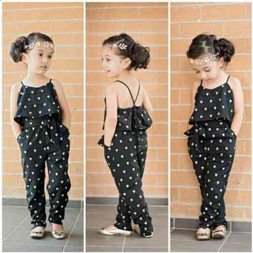 Cute Heart Print Jumpsuits With Suspender For
