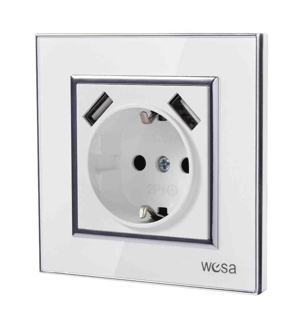 Double Usb Wall Socket With Acrylic Frame