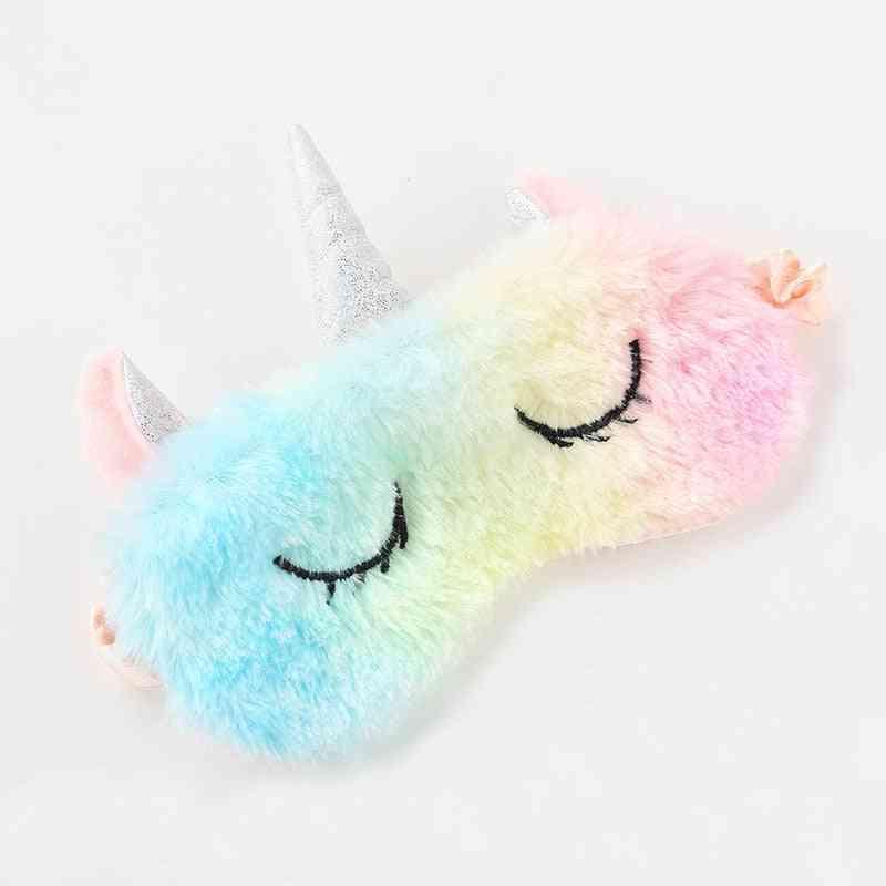 Unicorn Cartoon Sleeping Eye Mask, Plush Eyeshade Cover