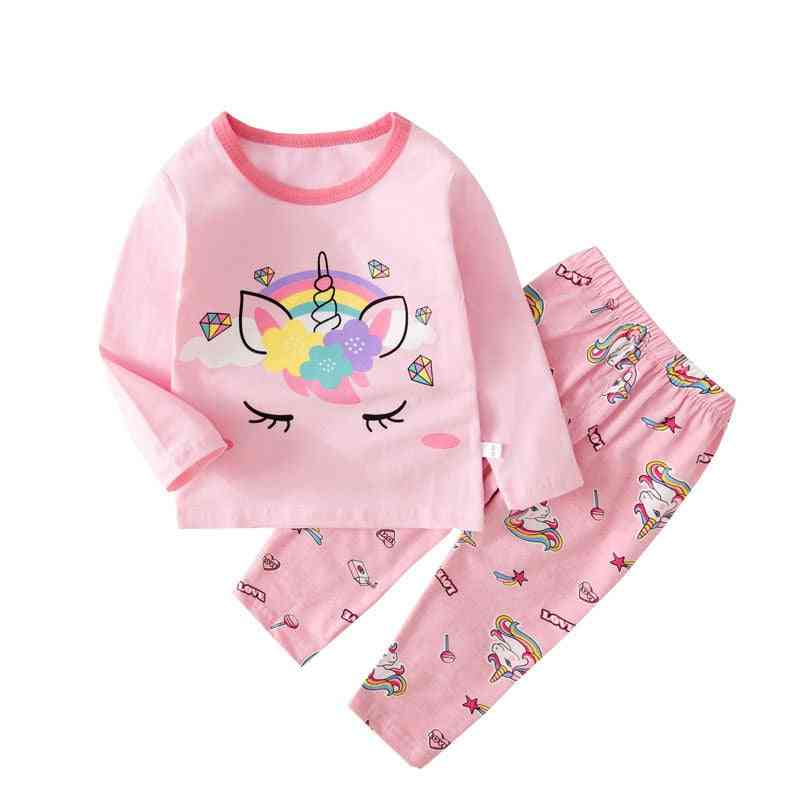 Kids Unicorn Pajamas For,with Long Sleeve Cotton Sleepwear