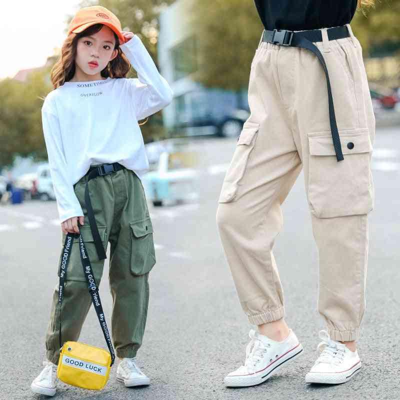 High Waist Cargo Pants, Loose Pocket - Sport Running Pants