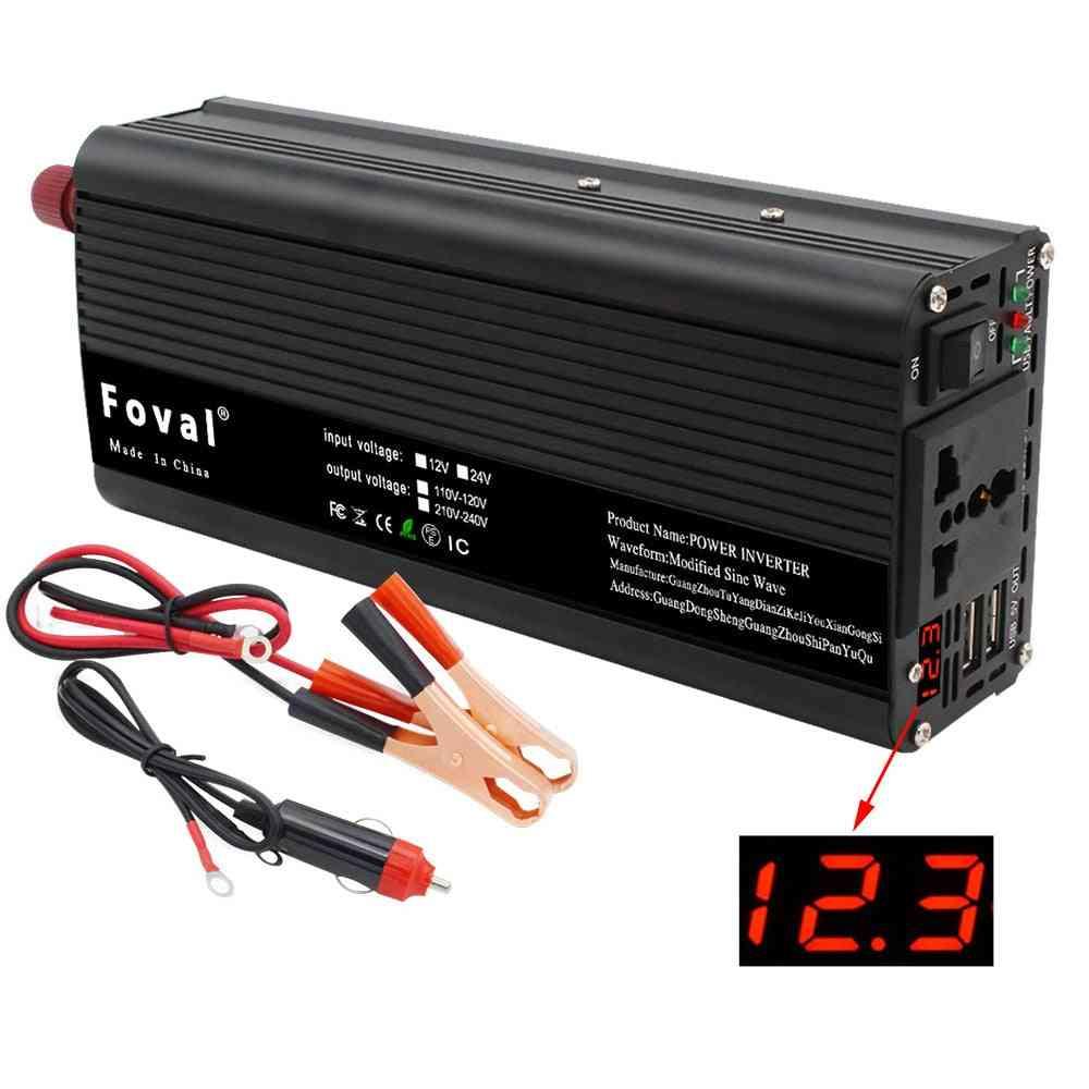 Dual Usb 2000w Watt Dc 12v To Ac 220v Portable Car Power Inverter Charger, Converter Adapter, Universal Socket