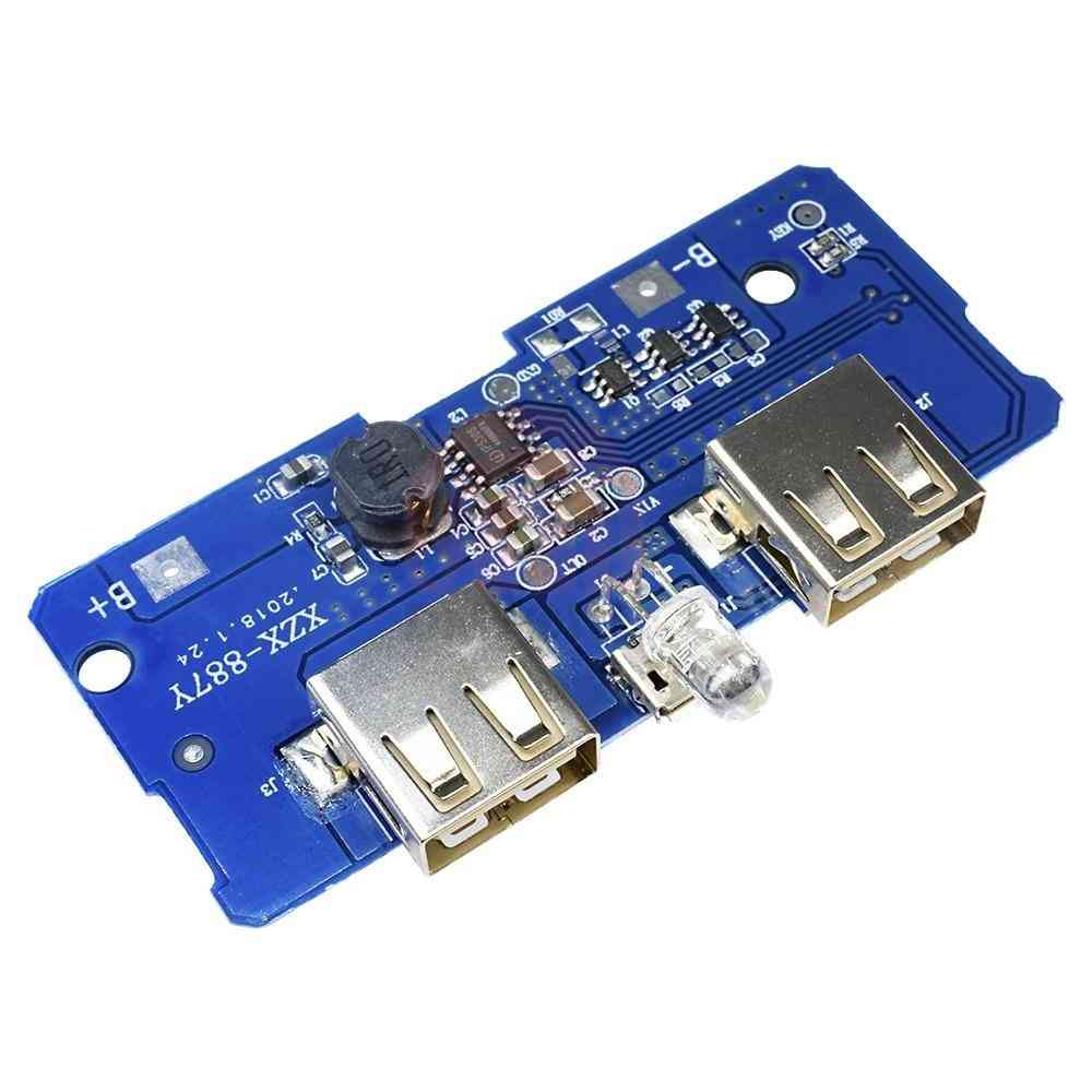 Dc 5v/2a Power Bank Charging Circuit Module Board With Dual Usb Output, 1a Input