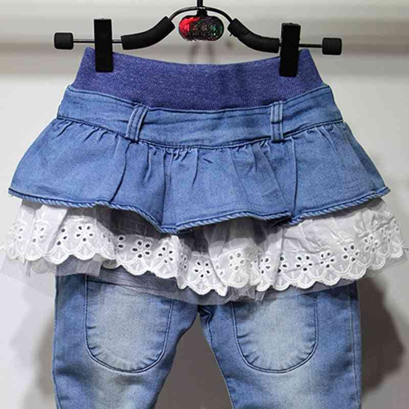Ruffles Skirt Pants / Leggings, Thick Warm Denim Trousers For