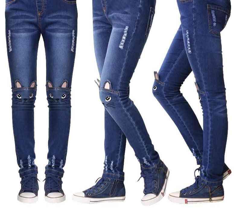 Girls Leggings, Cartoon Cat Printed Jeans Pants