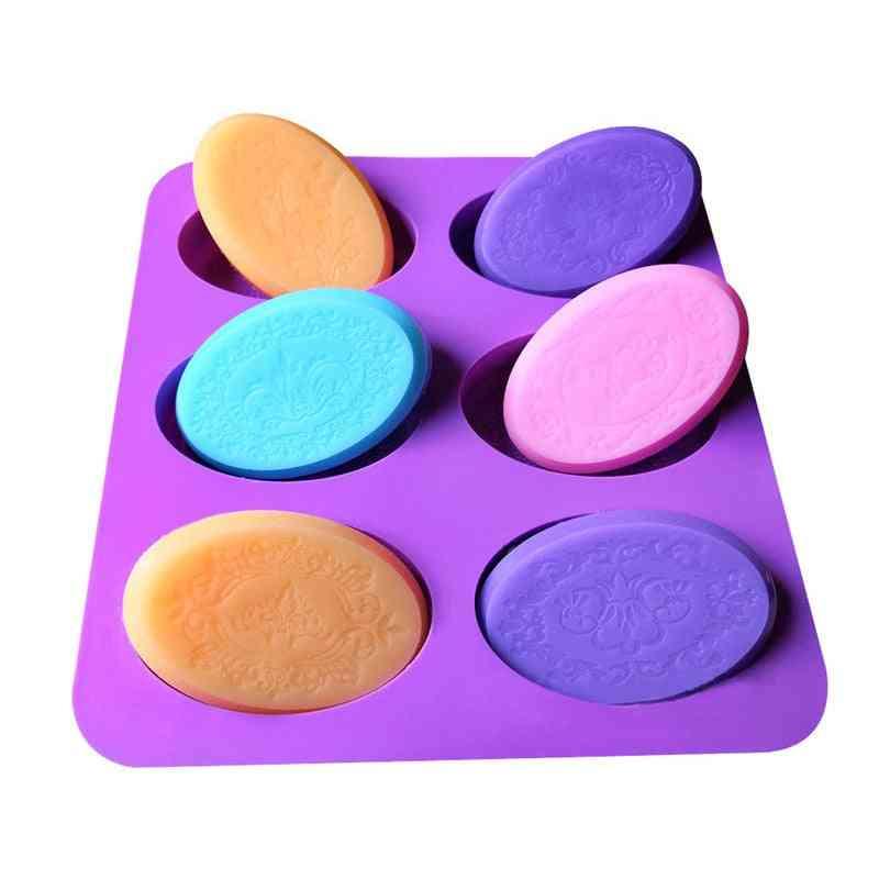Handmade Craft Oval Rectangular Shape Soap Mold, Silicone Cake Fondant Mould