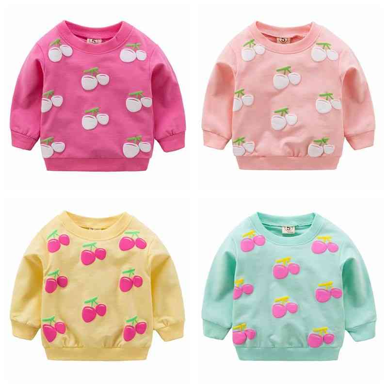 Newborn Baby Cotton T-shirts Clothes, Autumn Child Long-sleeved Cherry Pattern Blouses