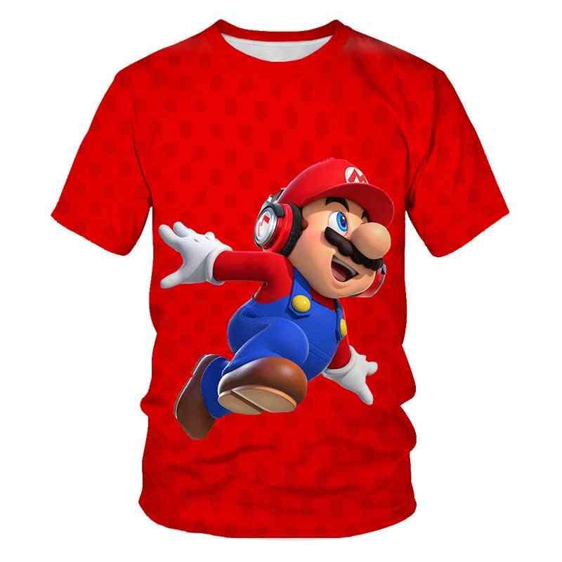 Baby And Super Mario Bros Game Cartoon Printed T Shirt Short Sleeves Set