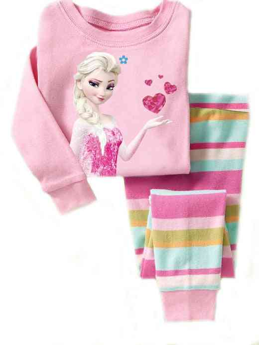 Girls Sleepwear Cotton Pajamas, Minnie Cartoon Print Long Sleeve Set-2