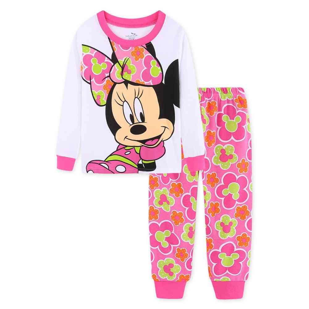 Minnie Cartoon Print, Long Sleeve Home Sleepwear, Cotton Pajamas