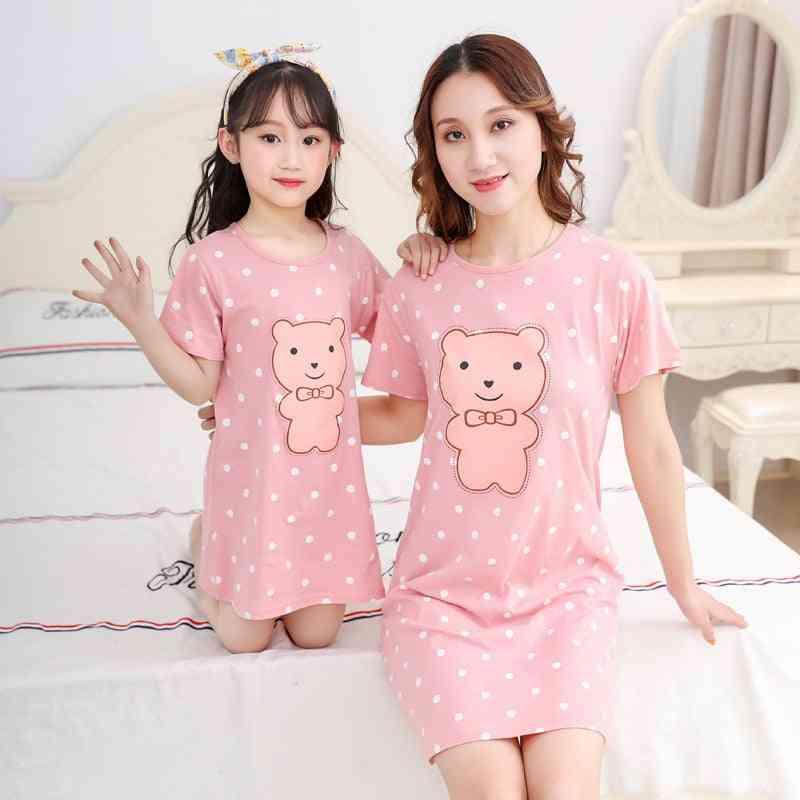 Girls Nightgown, Short Sleeved Nightdress Set-2
