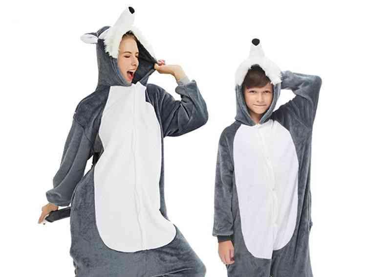 Girls, Winter Pajamas, Unicorn Cartoon Anime Style, Sleepwear Set