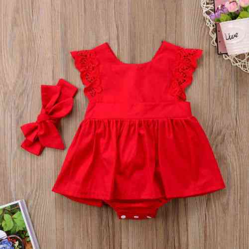 Ruffle Red Lace Romper Dress, Baby Princess Cotton Dresses