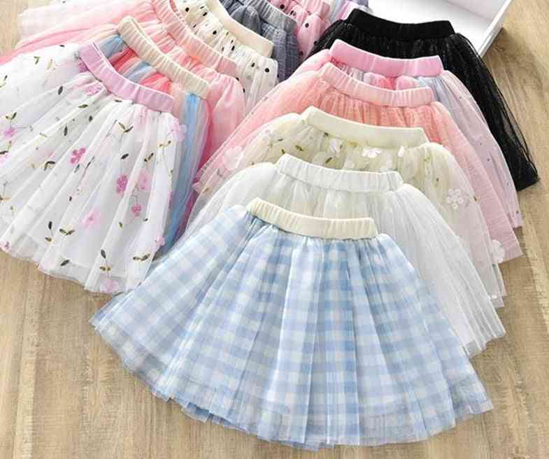 Cute Mesh Baby Girl Tutu, Flower Dot Plaid Skirts
