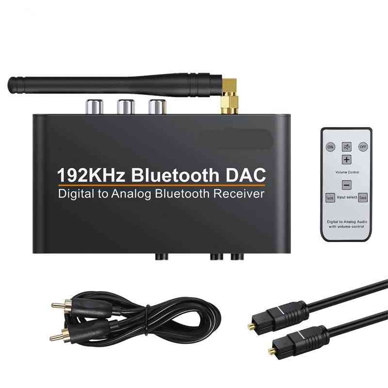 Dac With Remote Control, Built-in Bluetooth V5.0 Receiver Converter
