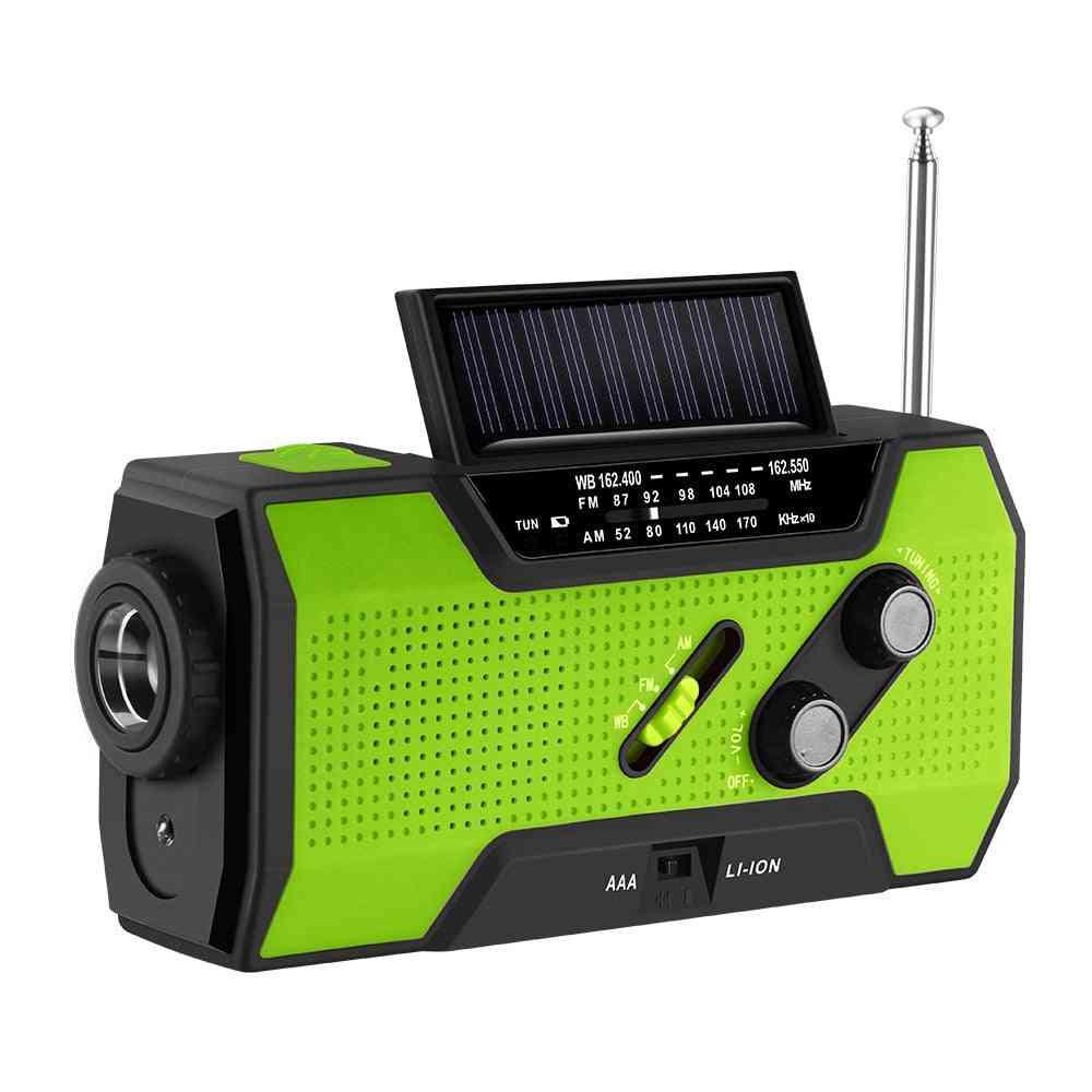 Hand Crank, Self Powered Radio And Flashlight/led Reading Lamp