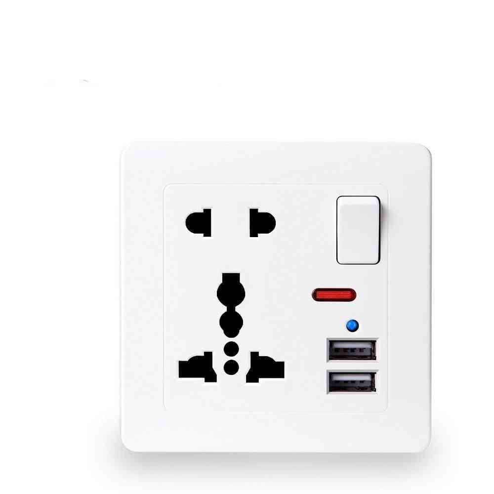 5v/2.1aeu Standard Outlet Panel, Dual-usb Charger Port Switch Control, 5-hole Usb Wall Power Socket