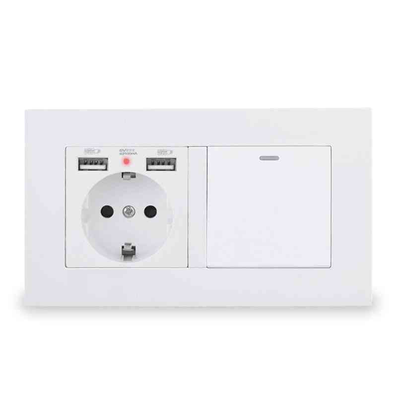 Eu Standard Wall Socket With 2-usb Charge Port Led & 1 Gang, 1 Way On-off Light Switch Pc Panel