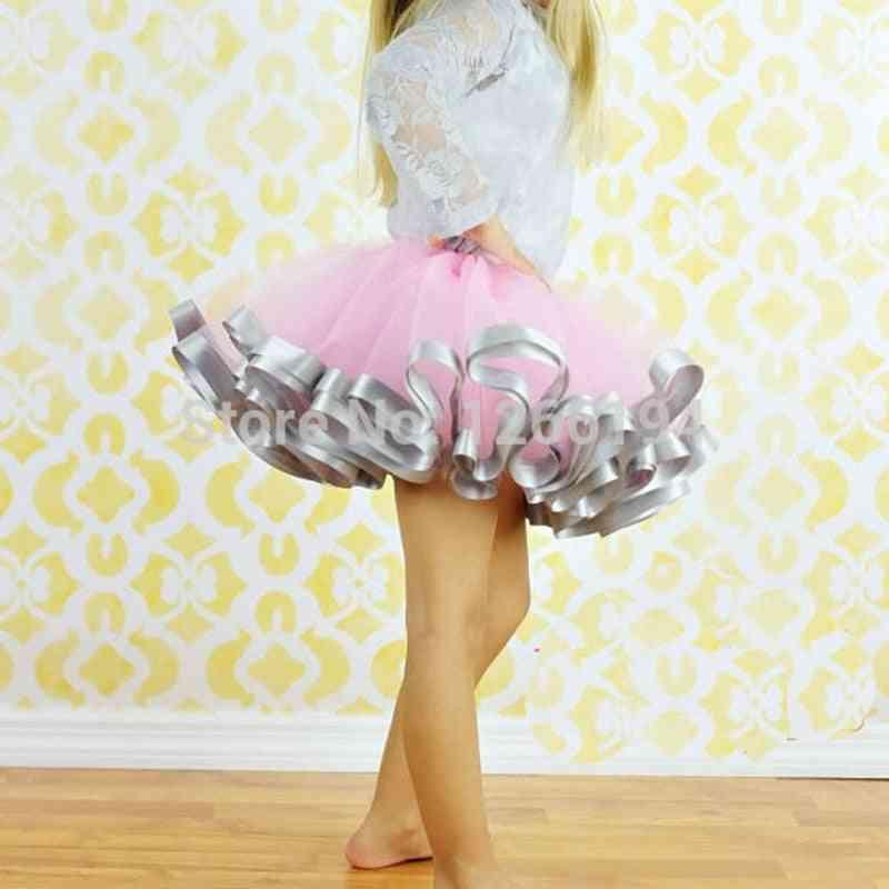 Girls Casual Chiffon Skirts, Pink And Grey Ribbon Skirt