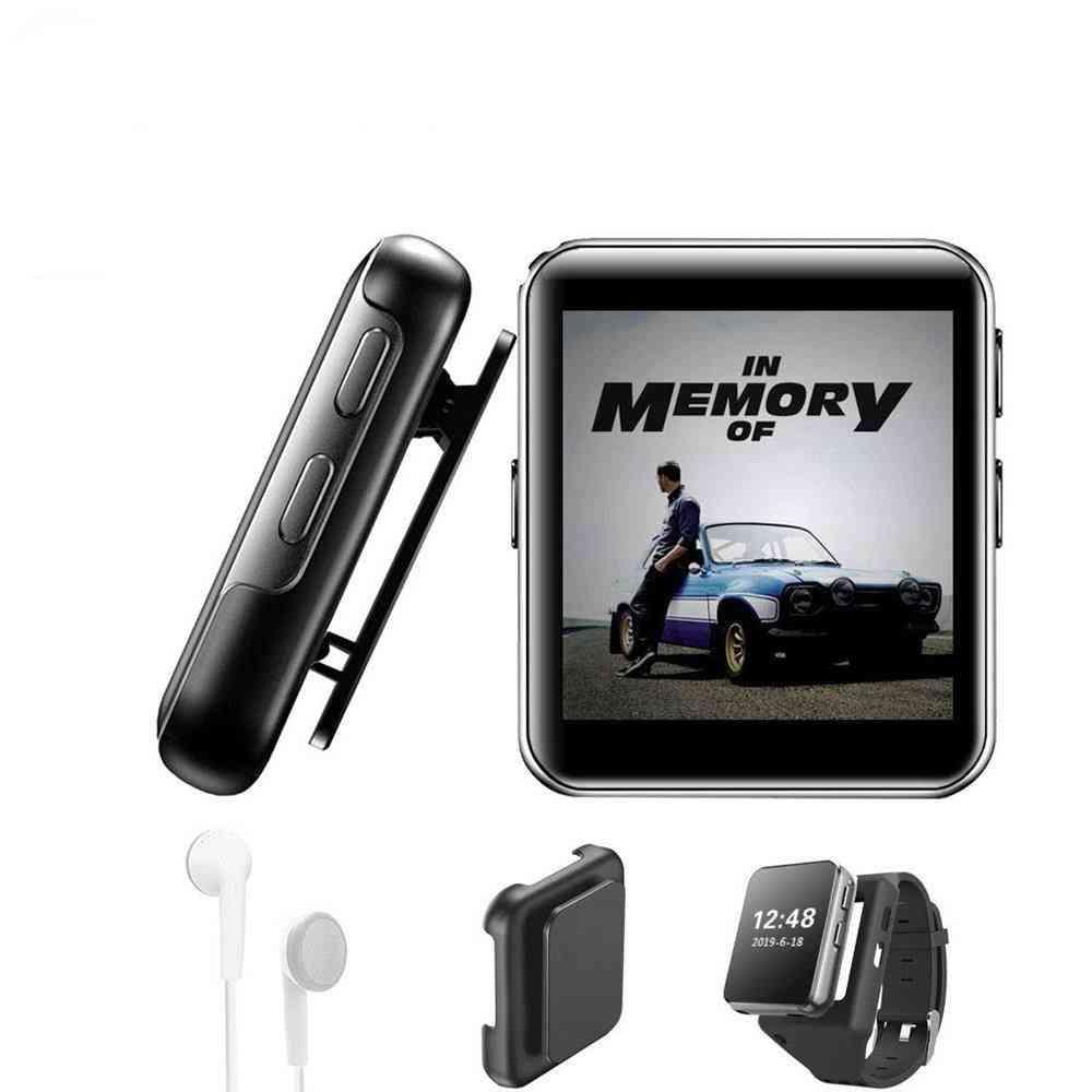 Bluetooth Mini Clip Mp3 Player, Portable 1.5 In Touch Screen