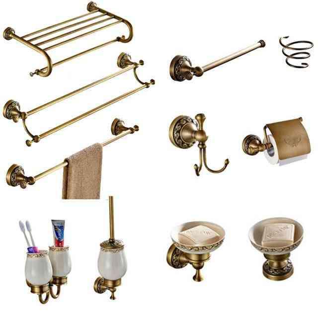 Antique Brass, Carved Towel Ring/paper Holder/soap Dish- Bathroom Hardware Set