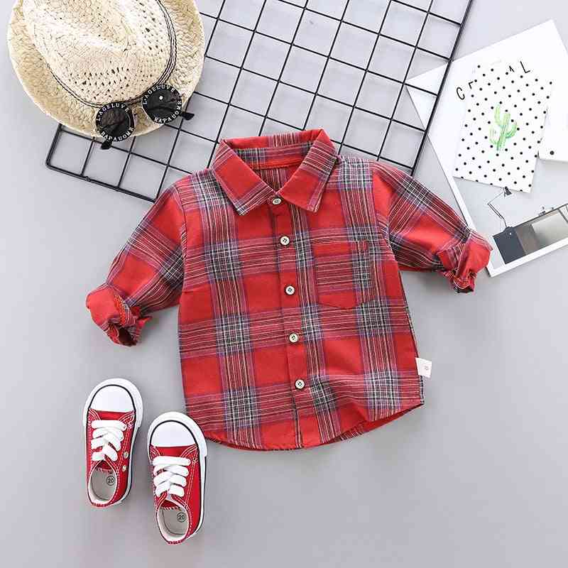 Spring & Autumn Plaid Shirt, Cotton Long Sleeve Casual Shirts For /