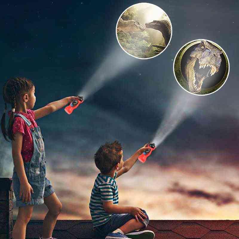 Dinosaur & Spiderman Projector Toy Flashlight, Sleeping History Early Education Model