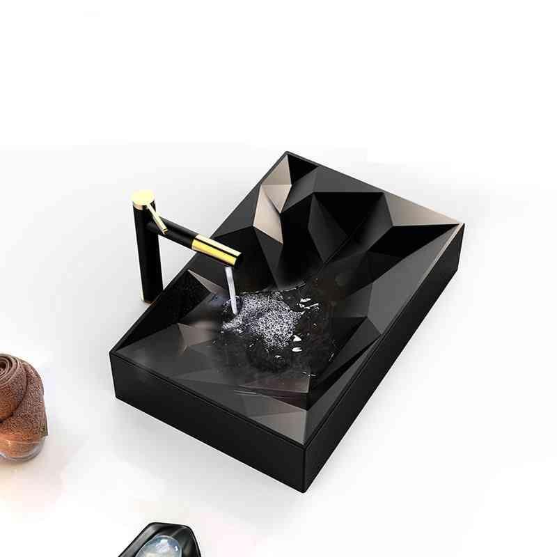 Matte Black Ceramic Vessel Lavatory Sink -handmade