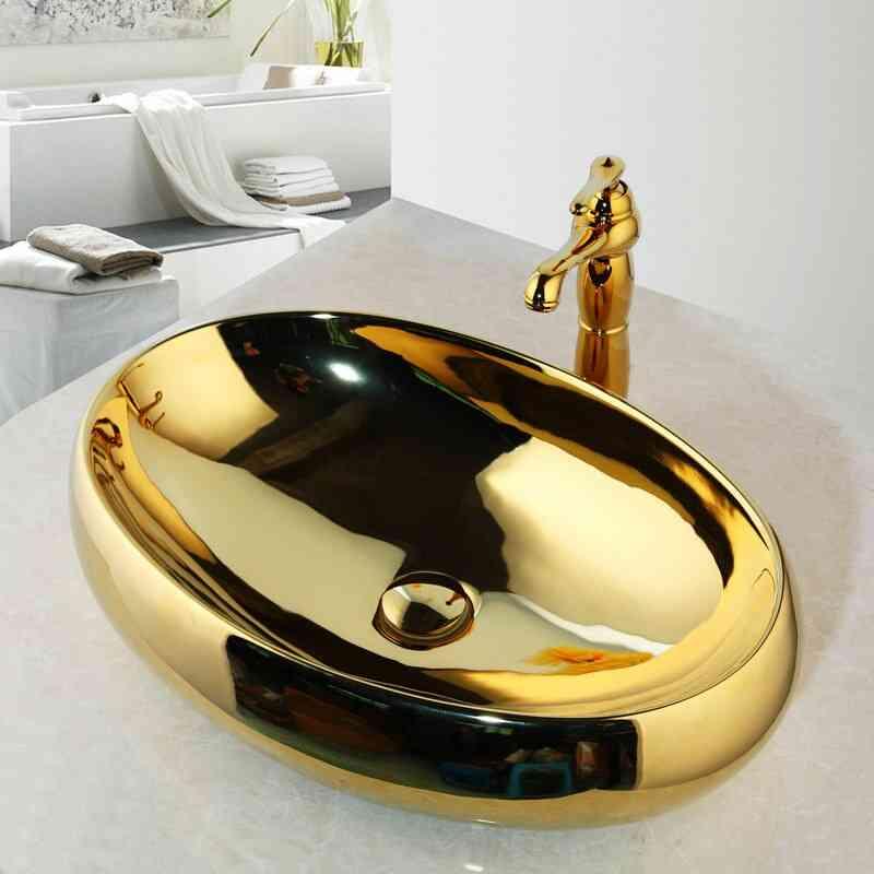 Solid Brass Golden Luxury Ceramic Washbasin Set