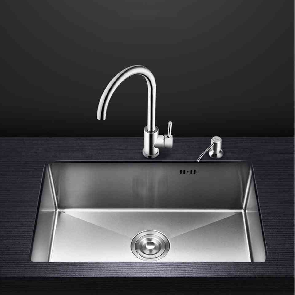 Single Bowl Above Counter -undermount Handmade Brushed- Stainless Steel Sinks
