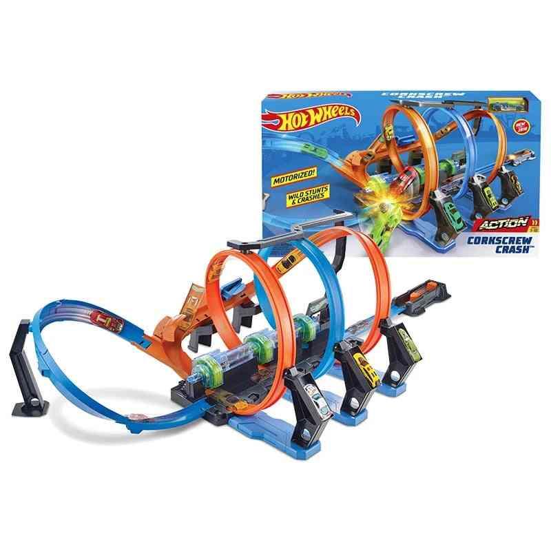 Corkscrew Crash Car Track Set, Chain Corner Impact Racing Loops And Diecast Mini Toy