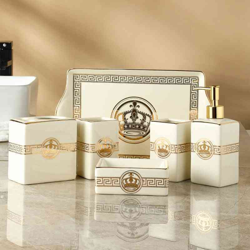 Bathroom Accessories Set- Ceramic Soap Dispensers, Toothbrush Holder, Gargle Cups With Tray Trash Can & Tissue Box