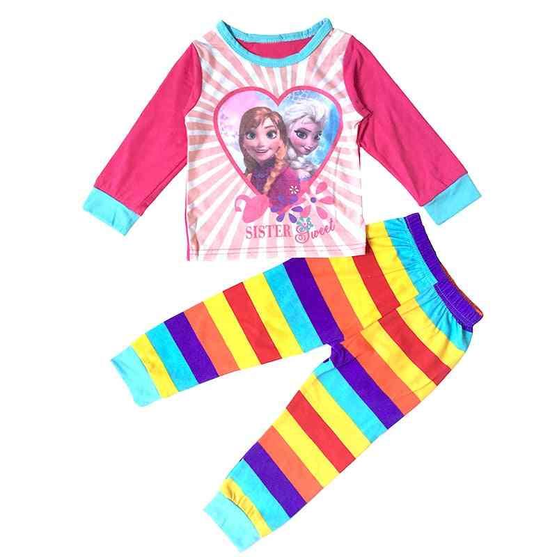 Girls Clothes, Cartoon Printed, Long Sleeve Pyjamas