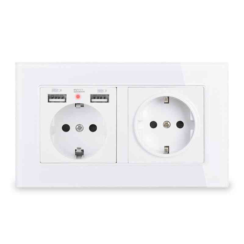 2 Gang Eu Standard Wall Socket With 2 Usb Charge Port Hidden Soft Led Indicator Glass Panel