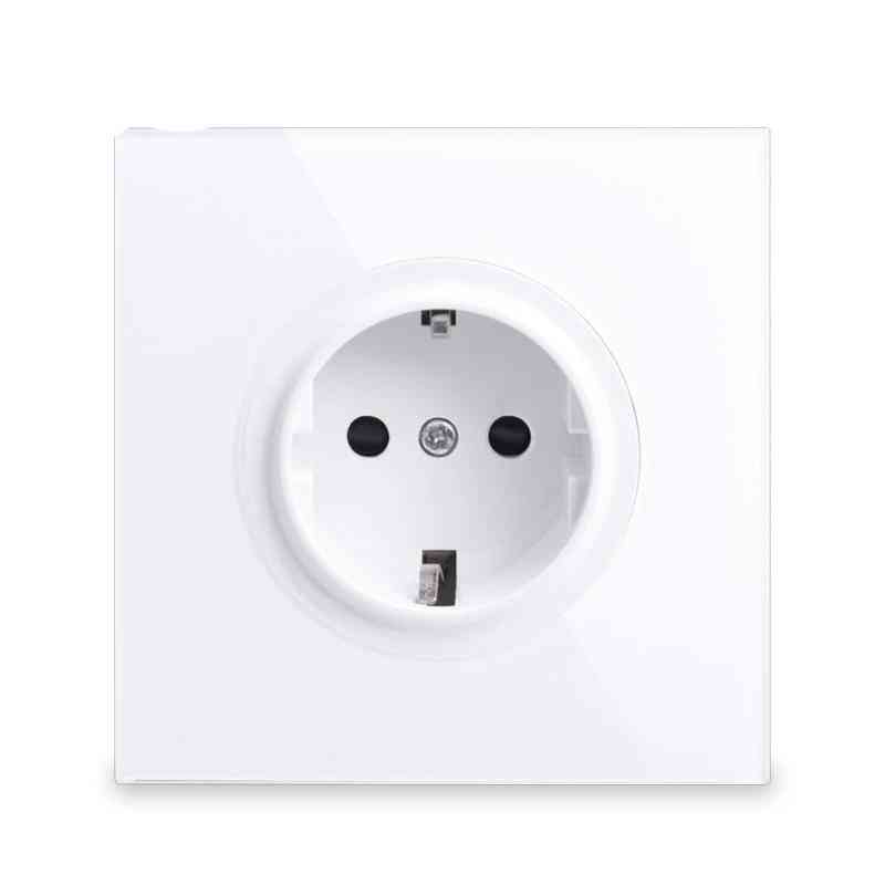 1pcs Pure Glass Frame Eu Wall Socket - Outlet Grounded With Child Protective Lock