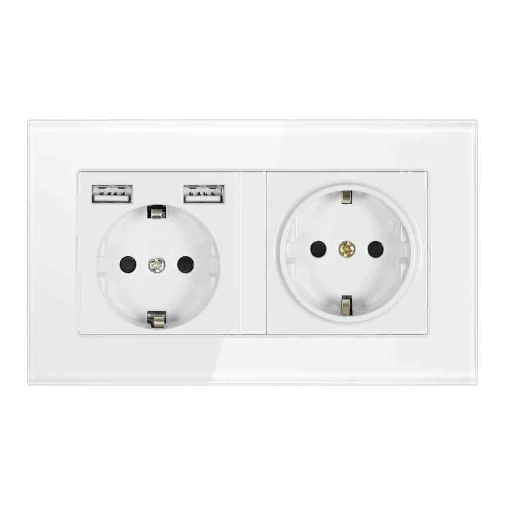 Eu Standard Grounded Electrical Socket With Usb Outlet Strip