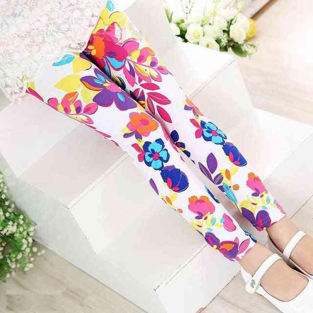 Flower Print Leggings, Warm Pencil Pants  Set-1