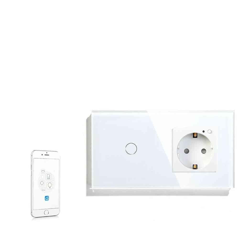 16a Wifi Touch Switch, 1-gang, Eu Standard Socket Panel