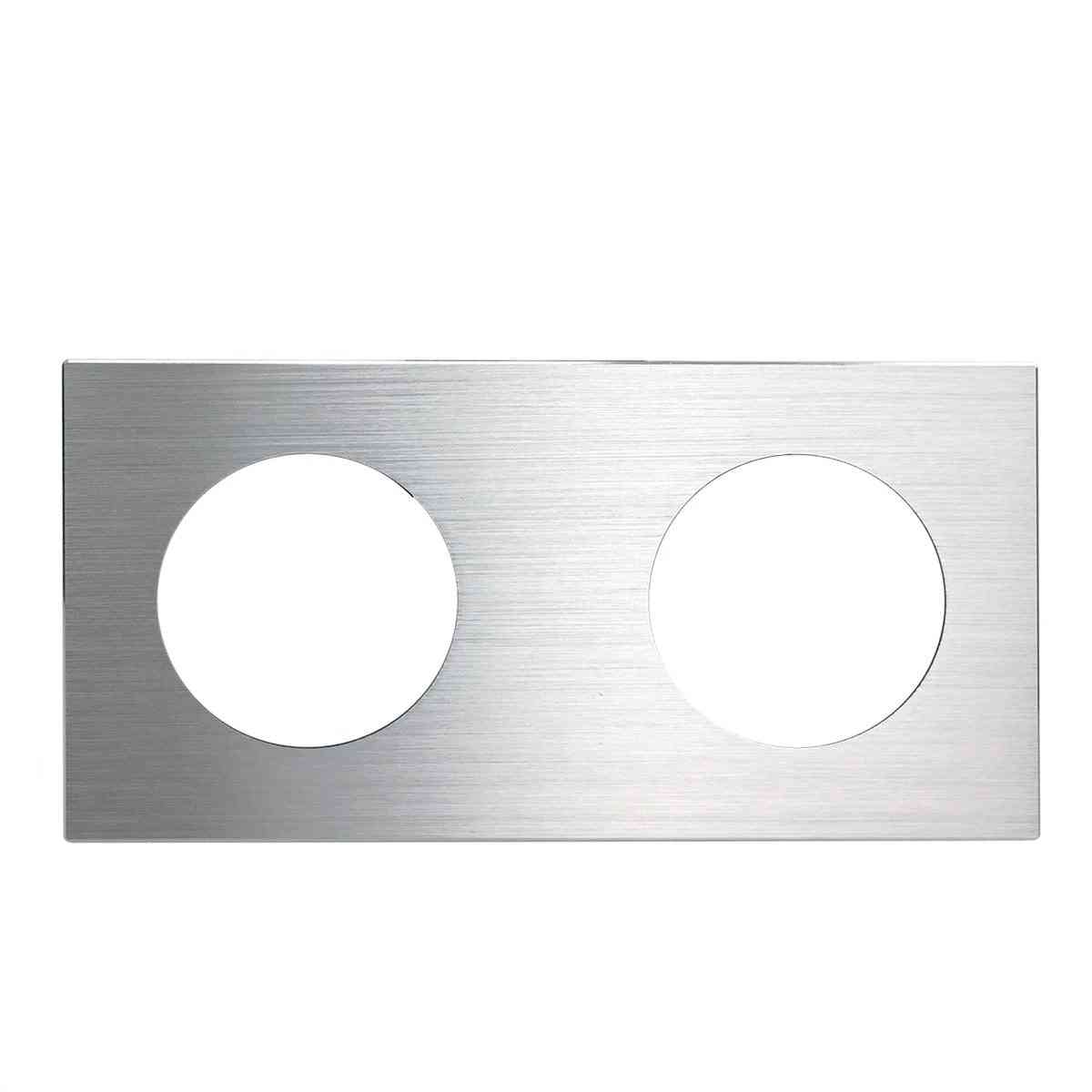 172*86mm Double Panel Brushed Aluminum For Wall Switch Socket, Uk, Eu Universal Metal Plate