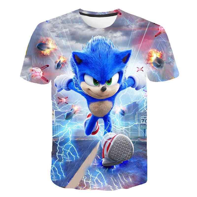 Short Sleeve, 3d Cartoon Printed - T Shirt For (set-3)