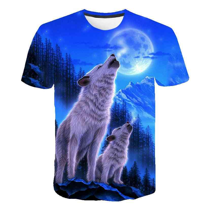 3d Wolf Cool T-shirt, Summer Fashion Short Sleeve Tops For & Set-2