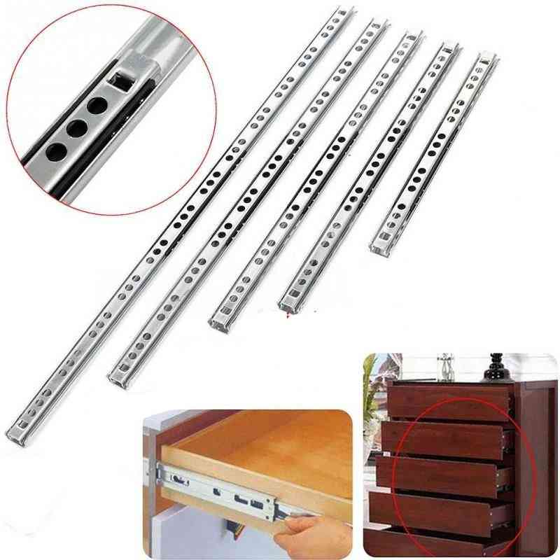 Stainless Steel Drawer Slides Ball, Bearing Runners, Three-section Extension Cabinet