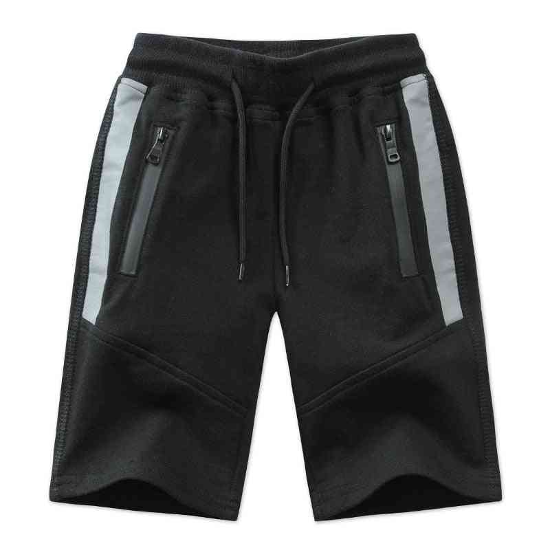Patchwork, Striped, Soft Cotton Sporty Shorts For Teenagers