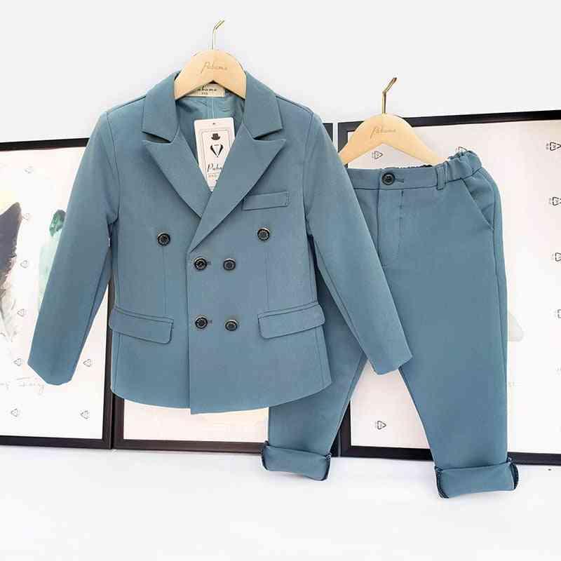 Spring & Autumn Double Breasted Suit Set, Fashion Blazer / Pants