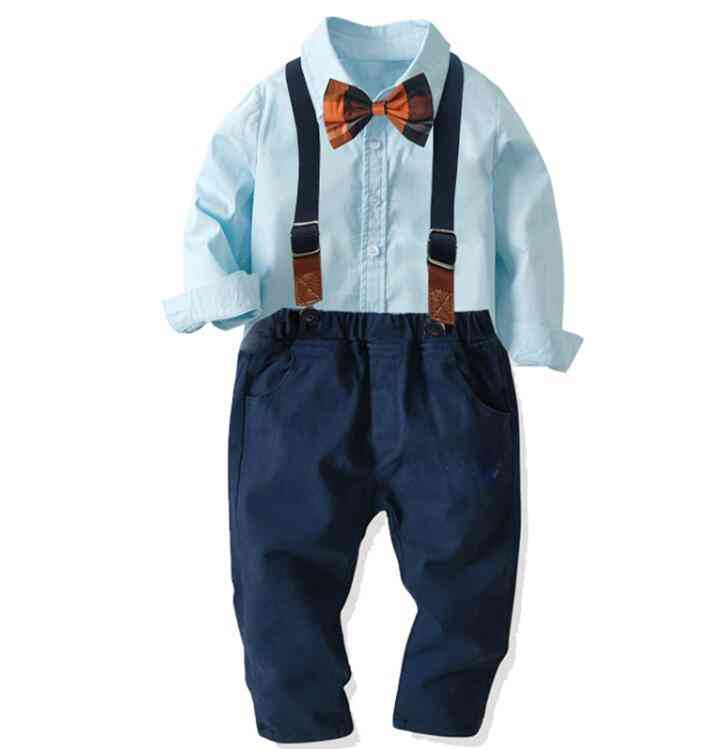 Spring & Autumn Long Sleeve Striped Bowtie Shirt / Suspender Trousers, Baby Suit