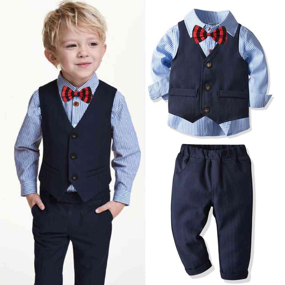 4pcs Suits, Baby Striped Shirt, Vest, Trousers & Formal Blazer Clothes Set