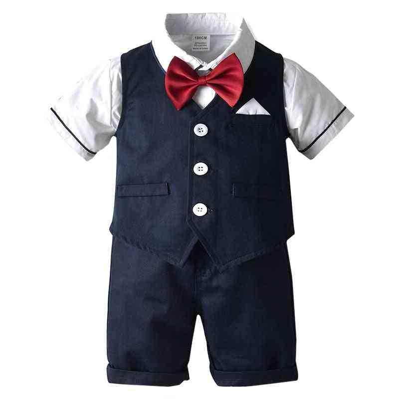 Boy Clothes, Formal Dress Gentleman Bow Tie Shirt,  Vest Shorts Sets