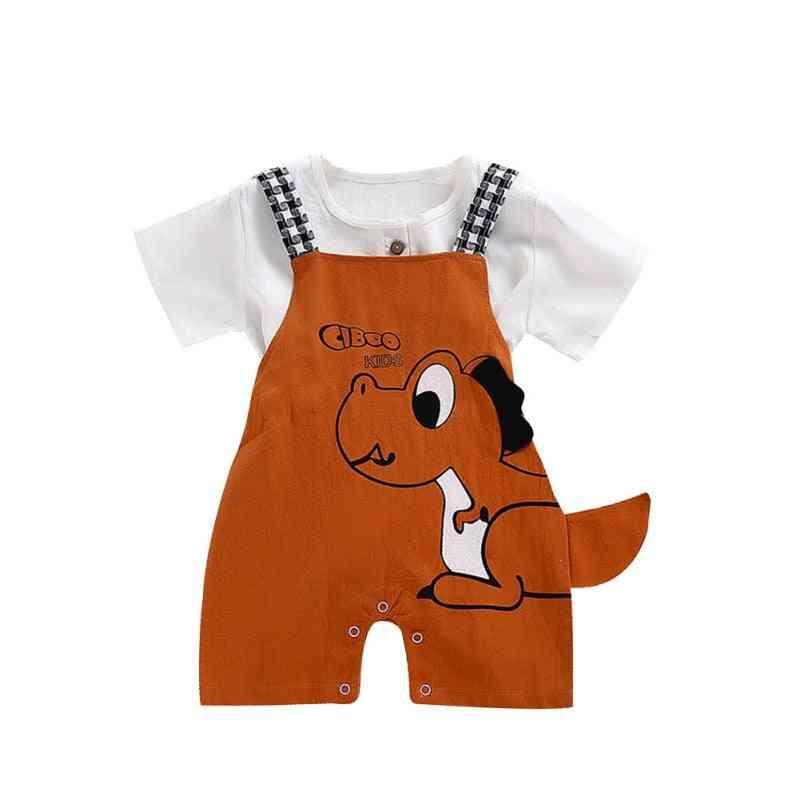 Summer Baby & Grils Shorts, Dinosaur Cartoon Printing Suspender Trousers